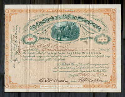 1882 GILPIN CO. Legal Tender Gold & Silver Mining Co. Stock Certificate COLORADO