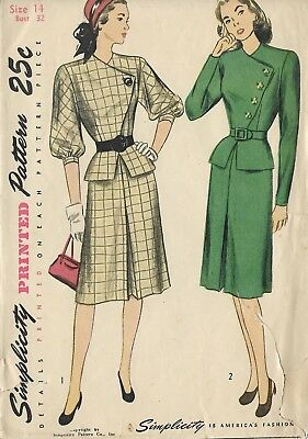 """S1770 Simplicity 1770 Sewing Pattern VTG 1950s  B32"""" Size14 Skirt Top 2-Pc Dress"""