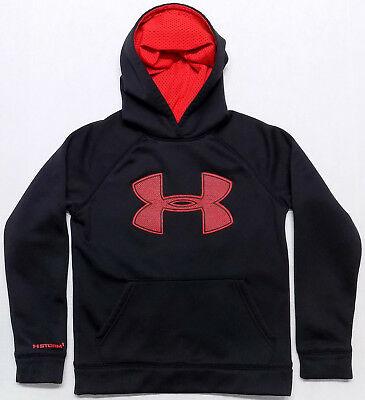 Under Armour Storm Black Big Logo Hoodie Youth Boys Small 7-8