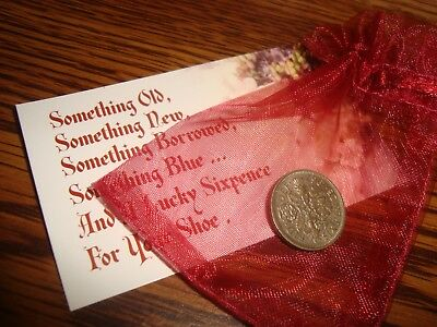 BRITISH LUCKY WEDDING SIXPENCE BRIDE Keepsake Coin / Heart Pouch , Floral Card