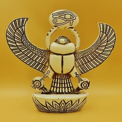 X_LARGE UNIQUE Statue of Ancient Egyptian Winged Beetle Scarab GOOD LUCK Symbol