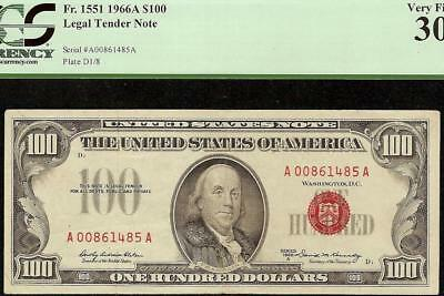 KEY 1966 A $100 DOLLAR UNITED STATES LEGAL TENDER RED SEAL NOTE Fr 1551 PCGS 30
