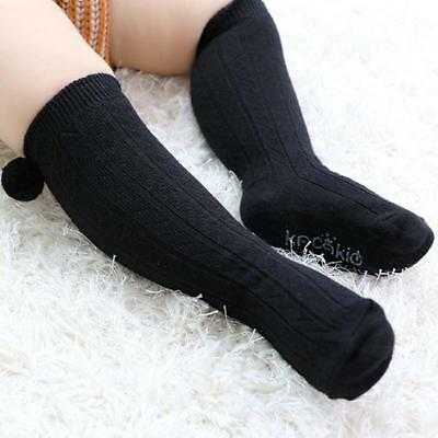 Baby Boy Girl Black Gray Pom Pom Knee High Ankle Socks New C