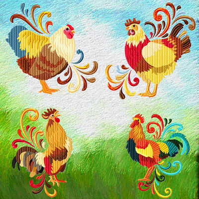 Roosters And Chickens 10 Machine Embroidery Designs Cd 4 Sizes Included