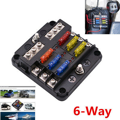 6 Way Blade Fuse Holder PBT PC Fuse Box Block Case For 12V/24V Car Truck Marine