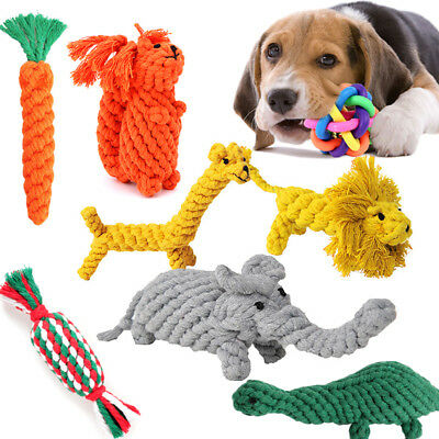 Dog Training Chew Knot Toys Pet Puppy Teeth Bear Braided Tough Strong Rope