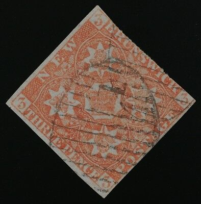 New Brunswick #1 VG used with St John numeral 1 grid cancel. 3 margins