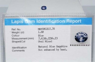 $1,360 1.68Ct Natural Lapis Gem Certified No Heat Blue Sapphire Loose Gemstone