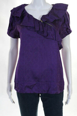Marc By Marc Jacobs Womens Blouse Size Medium Ruffle Short Sleeve Zip Asymmetric