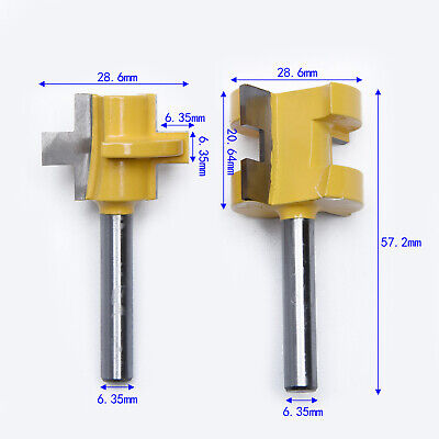 "2pc Bit Tongue And Groove Router Bit Set 1/4"" Shank T Shape Wood Milling Cutter"