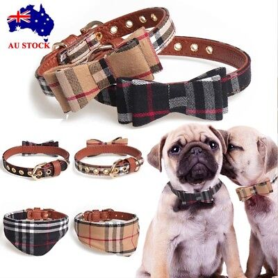 AU Adjustable Pet Dog Puppy Kitten Soft Collar Bow Print Tie With Bell Necklace