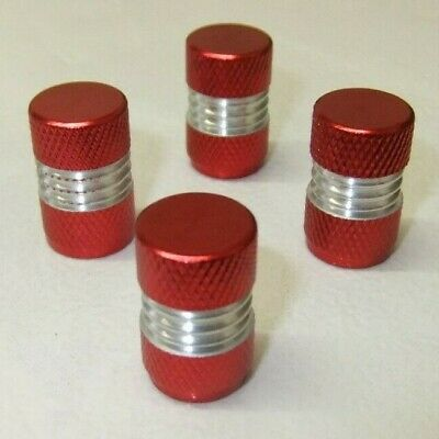 Pack of 4 Quality Red Round Metal Alloy Tyre Valve Dust Caps
