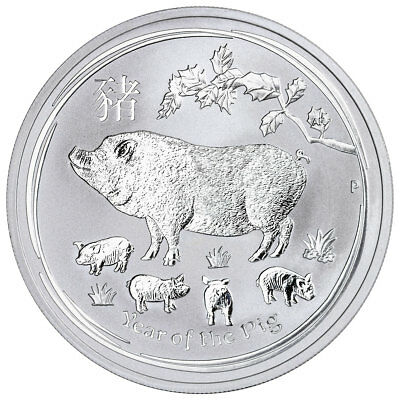 2019-P Australia Year of the Pig 1 oz Silver Lunar Srs 2 $1 Coin GEM BU SKU55204
