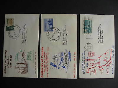 Canada unknown cachet 3 FDC first day covers, Sc 377, 378, 379