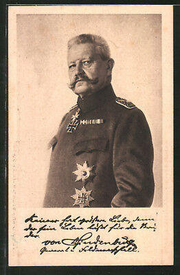 Ludendorff-Spende, Paul von Hindenburg in Uniform mit Orden, Ansichtskarte