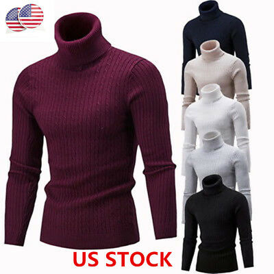 US Mens Turtleneck Sweater Pullover Tops Long Sleeve Slim Knitted Sweater KH