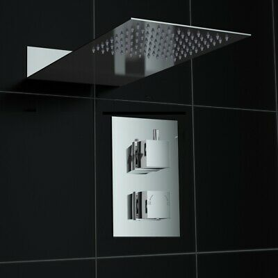 Concealed 1 Way Square Slimline Thermostatic Mixer Shower Kit