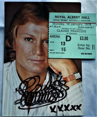 16th Jan 1978 Claude Francois Albert Hall ticket autographed photo see both pics
