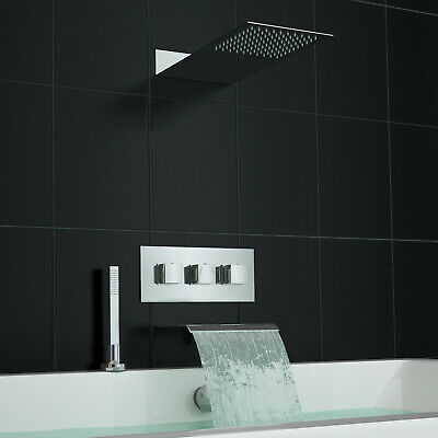 Concealed Thermostatic Mixer Shower Valve Waterfall Deck Mounted Bath Kit