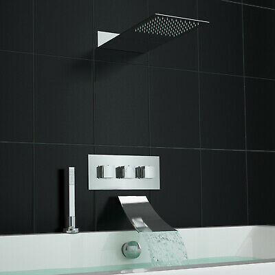Concealed Thermostatic Mixer Shower Valve Waterfall Deck Mounted Bath Set
