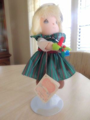 Precious Moments December Doll of the months W/ Stand  by applause 2C
