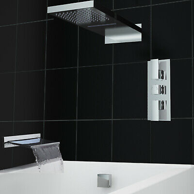 Concealed Waterfall Chrome Thermostatic 3 Way Bath Shower Mixer Valve Kit
