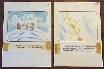 2 Orig T. HEE Disney Animation Artist Cartoon Storyboard Panels - Colored Pencil