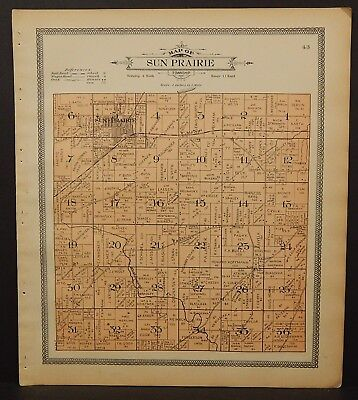 Wisconsin Dane County Map Sun Prairie or Vermont Township 1911 Dbl Side L26#12