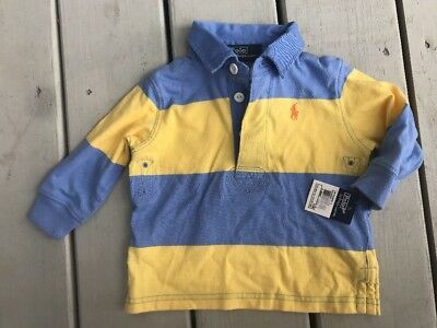 ** NEW RALPH LAUREN striped rugby polo shirt top baby boy 12 months NWT