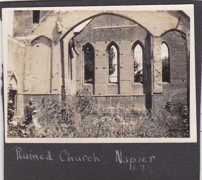 Old Vintage Photo New Zealand Napier Ruined Church Building B1