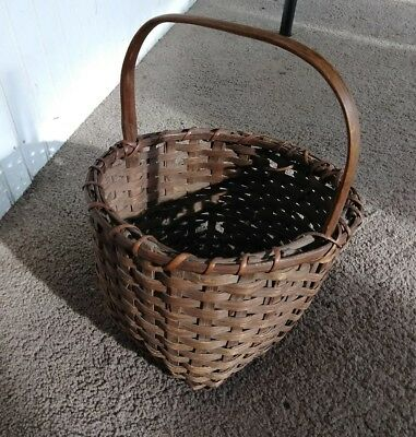 Vintage Antique Oak Slat Miniature Basket Fixed Handle Unsigned Small As Found