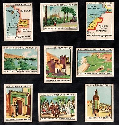 Spanish Africa 1938 French Chocs Cards Map Canary Islands Guinee Spain Tenerife