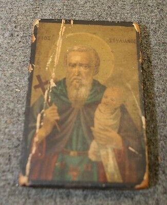 Antique Paper Litho Icon Mounted on Wood Block Varnished Stained w losses