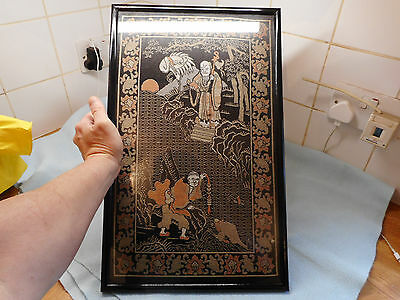 Beautiful Antique Framed  Chinese Embroidery Sages and Stork And Toad
