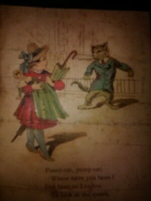 Antique Victorian Advertising Card Pussy- Cat Where Have You Been Sewing O.N.T.