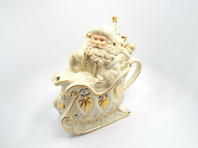 Lenox For The Holidays Florentine & Pearl Santa Teapot, with box