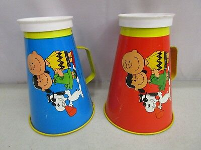 Vintage Lot of (2) 1970 Chein PEANUTS HEAD BEAGLE TIN MEGAPHONES