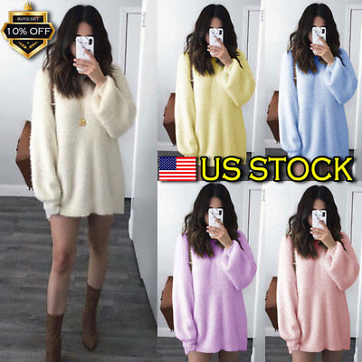 Womens Knitted Oversized Sweater Jumper Dress Ladies Winter Long Pullover Top US