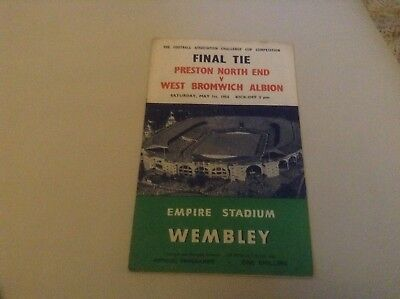 Preston North End v West Brom football programme dated 1 May 1954 at Wembley