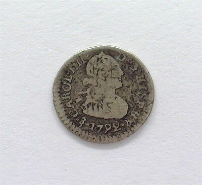 Carlos Iv Of Chile 1792 Silver 1/4 Real  Very Fine Rare!