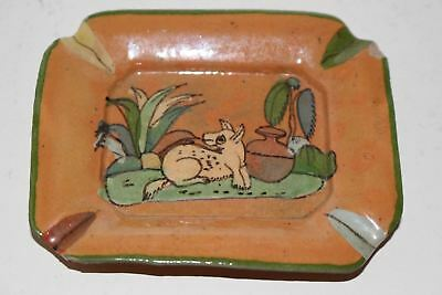 """Vintage Hand Painted Mexican Tlaquepaque Tourist Pottery 3.75"""" Ashtray"""