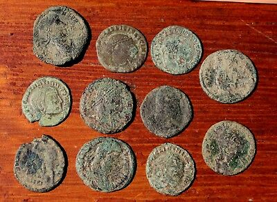 11 Authentic Ancient Roman Coins Depicting Ceasar & Emperors LOT