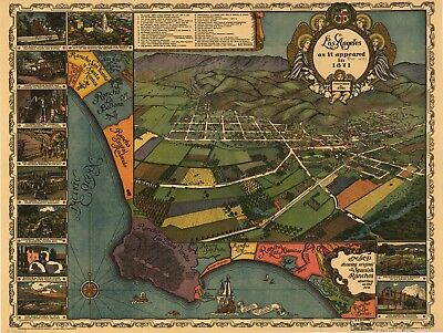 A4 Reprint of American Cities Towns States Map Los Angeles California