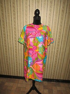 bbde4a842f07 EUC women's VINTAGE BJ'S made in HAWAII neon print 1960's dress ...