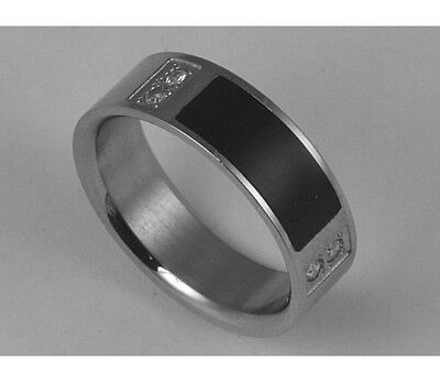 Unisex 316L Stainless Steel CZ Black Enamel Ring 7mm Band Size 8-11 NEW SS160