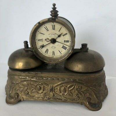 ANTIQUE OLD 1890's PARKER GILT DOUBLE BELL ALARM CLOCK Free Priority Shipping