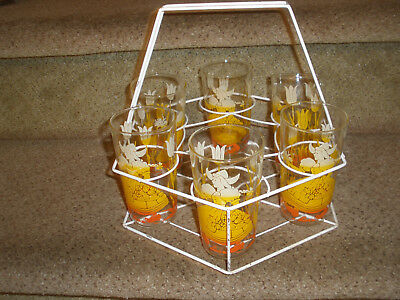 Vintage Swanky Swig Hexagon Wire Tumbler Carrier/Caddy with Dutch Girl Tumblers