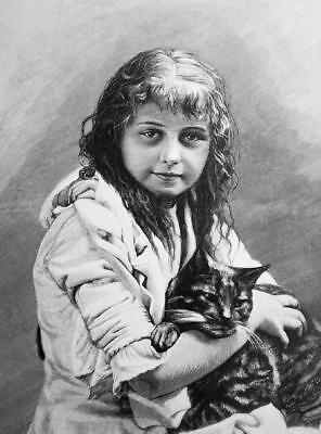 LOVELY GIRL Her Pet Friend Cat Kitten  - VICTORIAN Era Print
