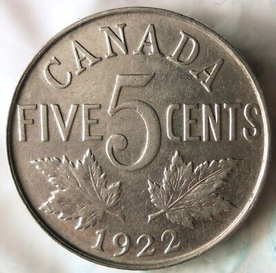 1922 CANADA 5 CENTS - Excellent Scarce Coin - FREE SHIP - Canada Bin YY