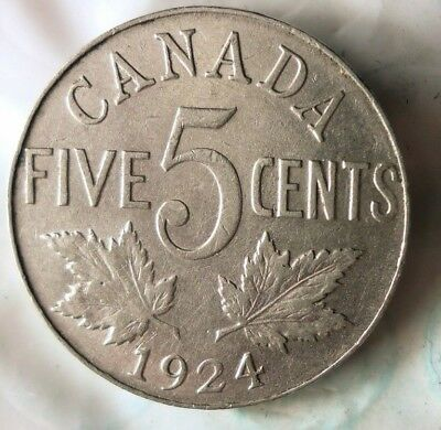 1924 CANADA 5 CENTS - Excellent Scarce Coin - FREE SHIP - Canada Bin YY